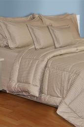 Beige Plain King Size Bedsheet With 2 Pillow Covers - Salona Bichona