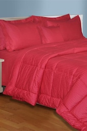Pink  Plain King Size Bedsheet With 2 Pillow Covers - Salona Bichona