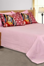 Baby Pink Plain  Double Bedsheet With 2 Pillow Cover - Salona Bichona