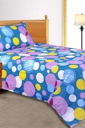Blue Dot Print Single Bedsheet With 1 Pillow Cover - Salona Bichona