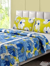Green And Blue Printed Double Bed Sheet, 2 Pillow Covers - Desi Connection