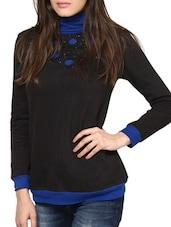 Black And Blue High-Neck Top - L'elegantae