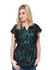 Green And Black Floral Top - L'elegantae