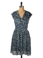 Patterned Navy And White Dress - Avirate