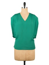 Elaborate Cut-Sleeve Green Top - Avirate