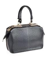 Textured Black Leatherette Bag - Alonzo