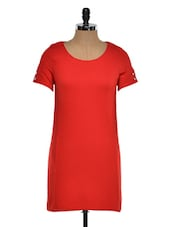 Red Polyester Shift Dress - STREET 9