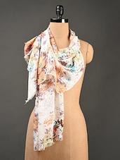 Floral Printed Multi Colored  Cotton Stole - Jaipur Vogue