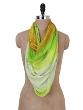 Green And Yellow Printed Stole - Jaipur Vogue