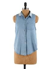 A-Line Denim Shirt With A Lace Collar - Collezioni Moda