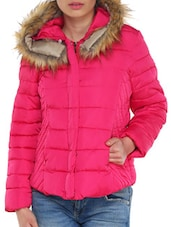 Pink Jacket With Fur Hood - TREND SHOP