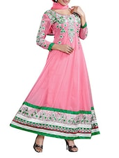 Unstitched Light Pink Embroidered Dress Material - 7 Colors Lifestyle
