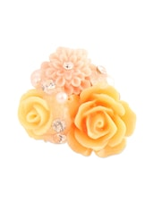 Peach And Yellow Flower Ring - Style Fiesta