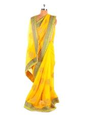 Vibrant Yellow Chiffon Saree - Fabdeal