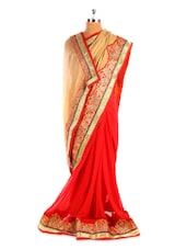 Red And Beige Saree With Gold Border - Fabdeal