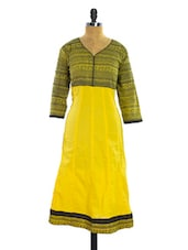 Yellow And Black Printed Kurti - Pothys
