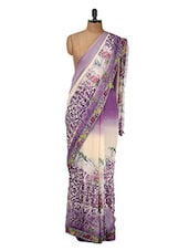 Off-white And Purple Floral Georgette Saree - Purple Oyster