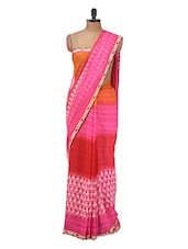 Pink And Orange Floral Georgette Saree - Purple Oyster