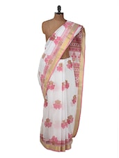 White And Pink Cotton Saree - Purple Oyster - 934278