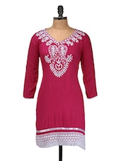 Pink Embroidered Kurti - Purple Oyster