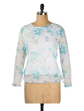 White And Blue Floral Top - Purys