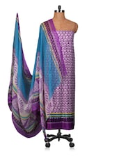 Purple And Blue Printed Dress Material - Fabdeal