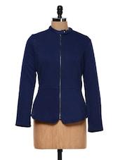 Navy Blue Front Zip-up Biker Jacket - Femella