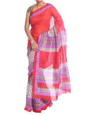 Red And Purple Art Silk Saree - Saraswati