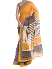 Yellow And Brown Art Silk Saree - Saraswati