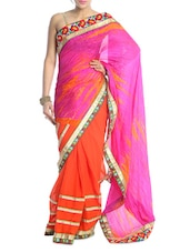 Pink And Orange Saree With Gold Border - Saraswati