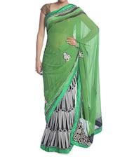Green, Black And White Printed Saree - Saraswati