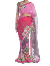 Pink And Grey Floral Saree - Saraswati