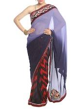 Deep Blue And Red Shaded Saree - Saraswati