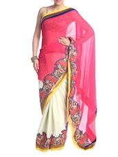 Pink And White Saree With Floral Border - Saraswati