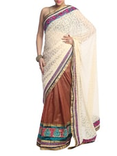 Cream And Brown Art Silk Saree - Saraswati