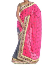 Printed Pink And Grey Saree - Saraswati