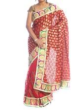 Red And Gold Saree With Lotus Border - Saraswati