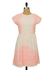Solid Cream Dress With Neon Pink Embroidery - Ozel Studio