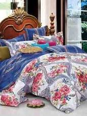 White, Pink Floral Double Bedsheet With Pillow Cover - Bianca