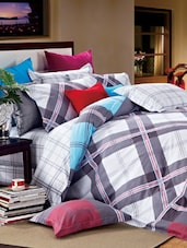 Grey And White Double Bedsheet With Pillow Cover - Bianca