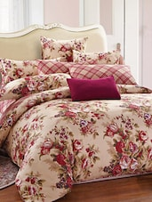 Beige And Magenta Double Bedsheet With Pillow Cover - Bianca