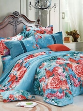 Blue And Red Floral Double Bedsheet With Pillow Cover - Bianca