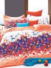 Orange And Blue Double Bedsheet With Pillow Cover - Bianca