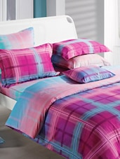 Purple And Blue Double Bedsheet With Pillow Cover - Bianca