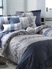 Blue And Grey Double Bedsheet With Pillow Cover - Bianca