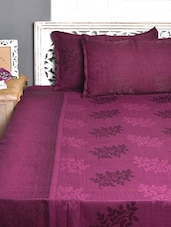 Leaf Patterned Purple Double Bed Cover Set - Natraj
