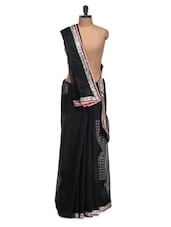 Black Saree With Silver Border - Istyledeals