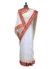 White Saree With Red Border - Istyledeals