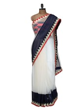 White Saree With Red And Black Blouse - Istyledeals