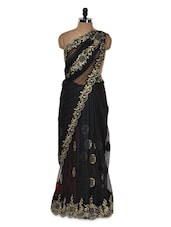 Black And Gold Net Saree - Istyledeals